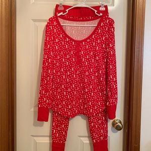 Other - red and white small long-janes Christmas pajamas